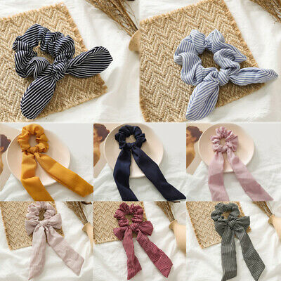 New Women Hair Ties Scrunchie Accessories Elastic Rope Bow Scarf Hair Band • 0.99$