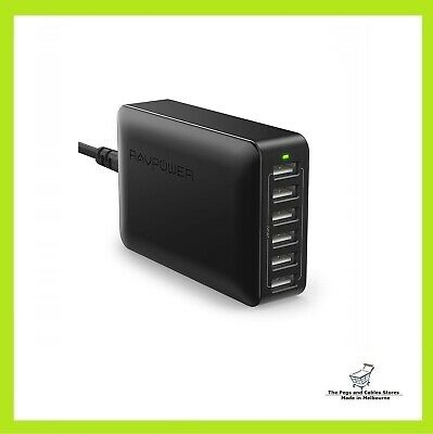 AU50 • Buy RAVPower 60W 12A 6-Port USB Charger Desktop Charging Station With ISmart (black)