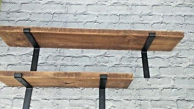 Wooden Workshop Shelves-Rustic Shelf-Metal Brackets/Solid Wood • 29£