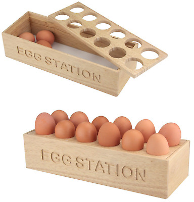 £12.99 • Buy Wooden Egg Station Kitchen Egg Storage Tray Holder 12 Egg Display Container New