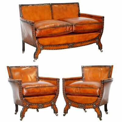 Studded Edwardian Restored Whisky Brown Leather Tub Club Suite Sofa & Armchairs • 8,000£