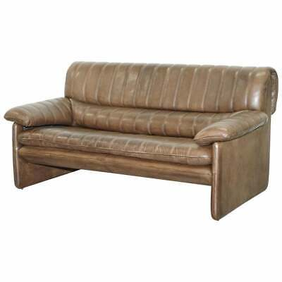 Vintage De Sede Ds-85 Aged Brown Leather Two Seater Sofa Mid Century Modern 86 • 2,500£