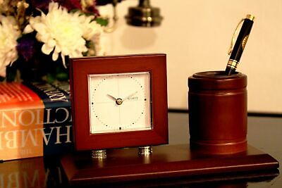 £6.90 • Buy Classical Wooden Table Desk Clock Temperature Humidity  - Incl. Battery