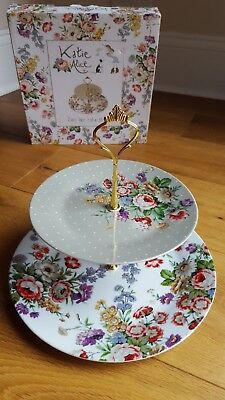 New In Box Katie Alice Two Tier Floral Porcelain Cake Display Stand • 19.99£