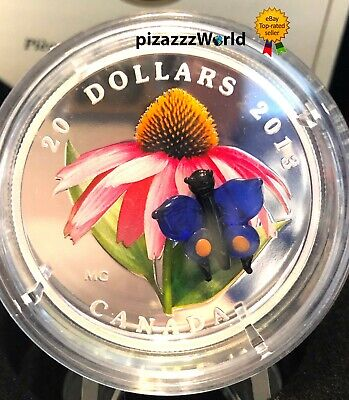 2013 Canada $20 Venetian Murano Glass Coneflower Butterfly 1oz Pure Silver Coin  • 159.99$