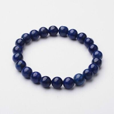 Natural Lapis Lazuli 8mm Bead Stretch Bracelet Chakra Healing UK • 5.99£