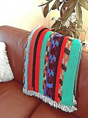 AFGHAN HAND Crocheted BRIGHT CHEERFUL Mexican Multi-color LAP BLANKET THROW • 30.78£