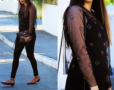 66aa42c0a09fdc Zara Black Sheer Embroidered Tulle Top Blouse Shirt Size Xs Xsmall • 45.00
