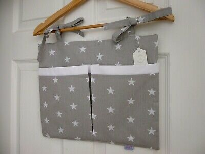Nursery 2 Large Pocket Cot Organiser Grey & White Star 100% Cotton Padded BNWT  • 16£