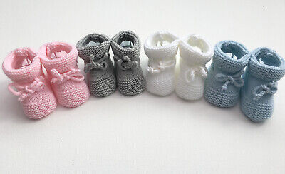 Baby Girls Boys Newborn Knitted Booties Soft Shoes White Grey Pink Blue  • 3.99£