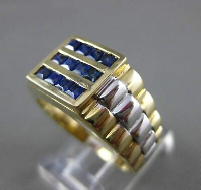 $1125 • Buy Estate .83ct Aaa Sapphire 14kt White & Yellow Gold Square 3 Row Mens Gypsy Ring