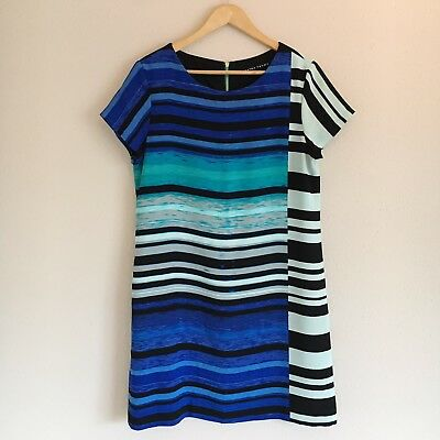 $ CDN37.47 • Buy Ivanka Trump Blue And Black Striped Shift Dress Womens Size 12 Career Style