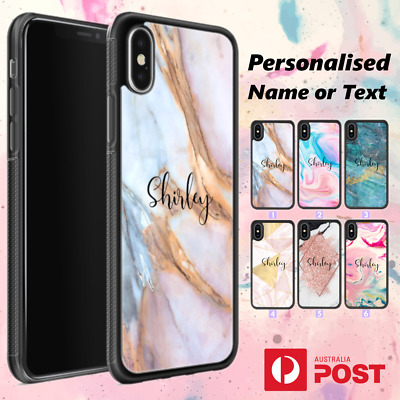 AU11.99 • Buy IPhone XS MAX XR X 8 7 Plus Shockproof Case Custom Marble Personalised Name A09