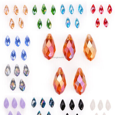 20Pcs Faceted Glass Teardrop Pendant Finding Jewelry Making Loose Beads 6/8/10mm • 1.29£