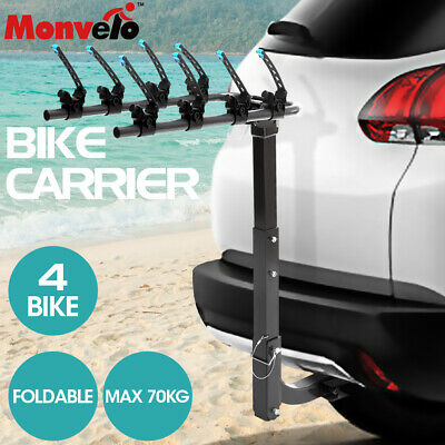 AU98.99 • Buy Monvelo Bike Rack Carrier 4 Bicycle Rear Mount Steel Hitch 2  Towbar Foldable