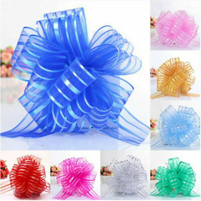 10pcs Large Organza Pull Bow Ribbon Craft Wedding Party Gift Packing Decoration • 1.83£