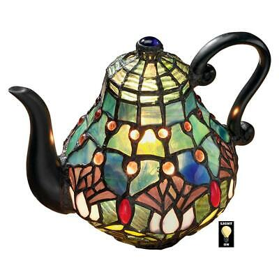 Design Toscano Victorian Teapot Tiffany-Style Stained Glass Illuminated Sculp... • 88.35£