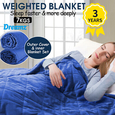 AU68.99 • Buy DreamZ Weighted Blanket Adults Anti Anxiety Deep Relax Gravity 7KG Royal Blue