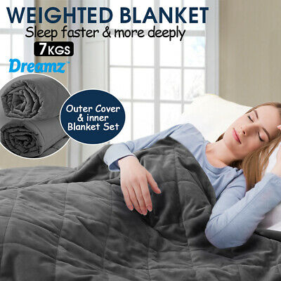 AU68.99 • Buy DreamZ 7KG Anti Anxiety Weighted Blanket Gravity Blankets Grey Colour