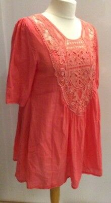 Eva & Lola Ladies Cotton Coral Tunic Top Coverup Lace Front Beach Summer Size M • 18.99£
