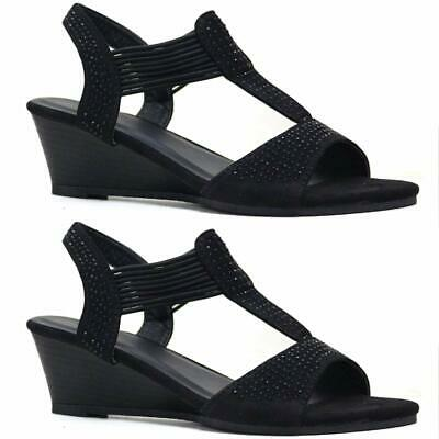 Ladies Wedge Sandals Womens Summer Strappy Party Dress Evening Fancy Shoes Size • 9.99£
