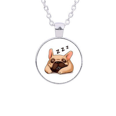 £2.50 • Buy Lovely Adorable Funny Pug French Bulldog Dog Necklace. In An Organza Gift Bag.