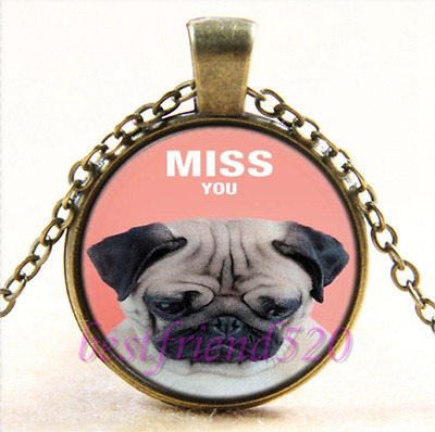 £2.50 • Buy Adorable Bronze Pug Dog Miss You Necklace.Stunning In An Organza Gift Bag