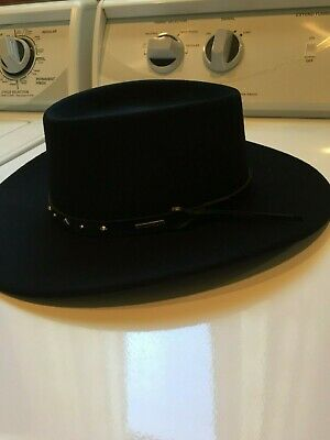 b061db043bfb7 Stetson Black Hawk Wool Felt Crushable Western Hat • 60.00