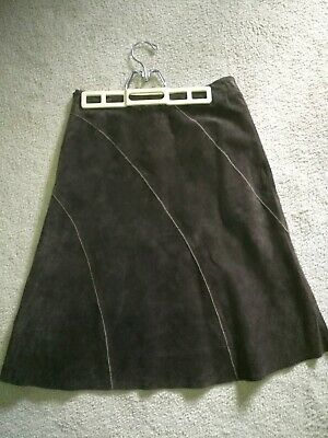 $ CDN78 • Buy DANIER LEATHER CANADA  Chocolate A-Line Leather Suede Knee Length Lined Skirt