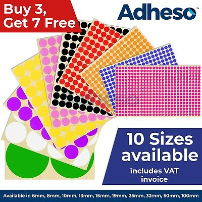 Adheso ANY SIZE Coloured Dot Stickers Round Sticky Dots Adhesive Circles Labels • 0.99£