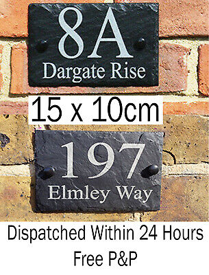 Rustic Slate House Door Gate Number Sign Plaque Any Number Or Message Black • 6.99£