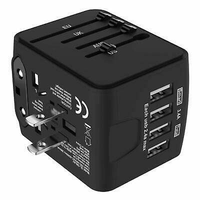 AU25 • Buy JOLLYFIT International Universal Travel Adapter 4 USB 2.4A Charger Black