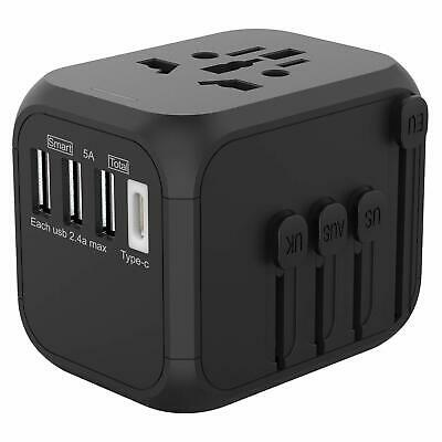 AU29.95 • Buy JOLLYFIT Universal Travel Adapter 5A Smart Charger (Black Type-C And 3 USB Port)