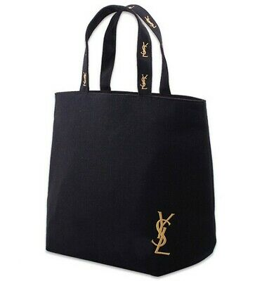 AU39.95 • Buy Fashion Japanese YSL Black Thick Canvas Large Tote Shopper Shoulder Bag