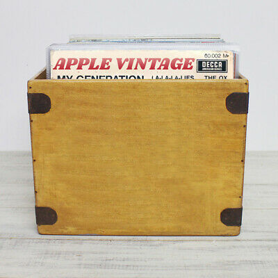 Handcrafted LP Record Box Large 80 12  Albums Vintage Solid Wooden Vinyl Crate • 28.99£