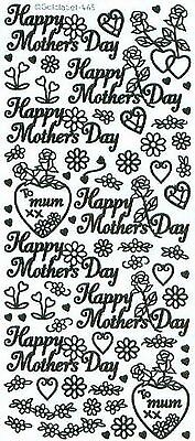 £1.10 • Buy MD2: Happy Mother's Day Hearts Flowers Peel Off Stickers Gold Silver Card Making
