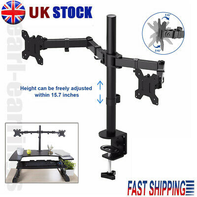 13 - 27  Double Dual Display Computer Screen Monitor Arm Mount Desk Stand LED CC • 20.99£