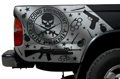 $59.95 • Buy Vinyl Graphics Decal Wrap For 1995-2004 Toyota Tacoma Truck 2nd Amendment SILVER