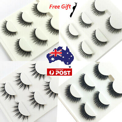 AU5.89 • Buy 3D Mink Natural False Eyelashes Wispy Cross Long Thick Sexy Fake Eye Lashes Set