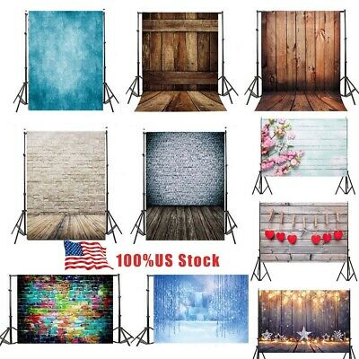 $11.99 • Buy US 3x5ft Vinyl Wood Brick Wall Photo Flash Background Backdrops Studio Props Kit