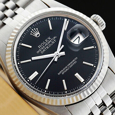 $ CDN5213.55 • Buy Rolex Mens Datejust Black Dial 18k White Gold & Stainless Steel Quickset Watch