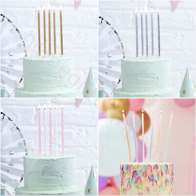£4.99 • Buy 24/12 Tall Birthday Cake Candles & Holders Party Cake Toppers Gold Silver Pink