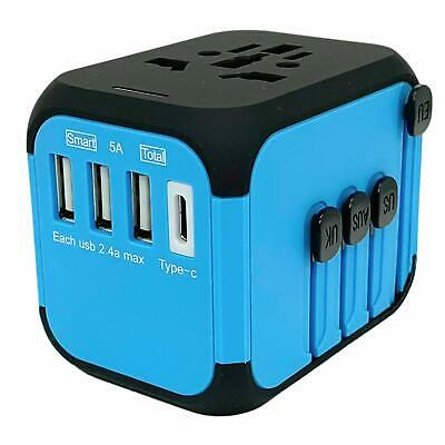 AU29.95 • Buy JOLLYFIT Universal Travel Adapter 5A Smart Charger (Blue Type-C And 3 USB Port)