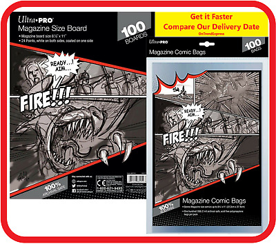 £25.43 • Buy Ultra Pro MAGAZINE Size Comic Bags Sleeves X 100 + White Backing Boards X 100