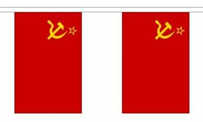 USSR 6 Metre Bunting 20 Flags Soviet Union Hammer + Sickle Russian Flag • 9.95£