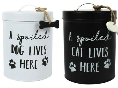Cat Or Dog Biscuit Treat Tin Storage Jar Great Gift For Animal Lover • 10.95£