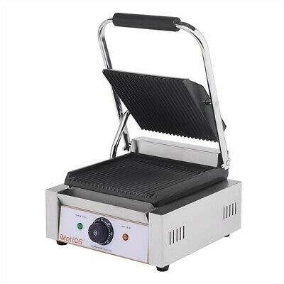 Commercial Single Panini Contact Ribbed Grill Cast Iron Imettos 101011 • 156£
