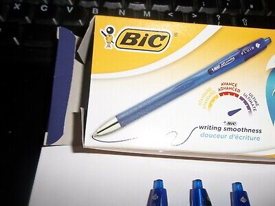 Bic Atlantis  Ball Point Pen (Blue)  Ultimate Smooth Writing Retractable 3, 6 12 • 6.50£