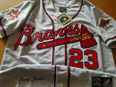 b863844fe GRY Brand New Atlanta Braves  23 DAVID JUSTICE WS Patch Stitched Majestic  Jersey • 59.99