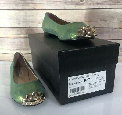 £21.62 • Buy Moonisa Green Flats Sparkle Spiked Gold Toe Rocker Glam New In Box Ballet Flat
